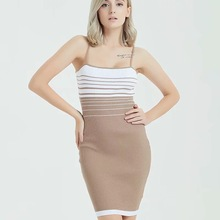 Elegant Striped Knit Slip Dress Sexy Women Bodycon Party Pencil Autumn Chic Strap Vestidos