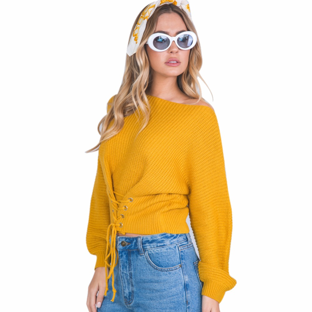 Autumn Winter Lace Up Sweater New Shrugs for Women Adjustable Waist Bandage Yellow Sweater Pullover Solid Knitted Sweater Coat ...