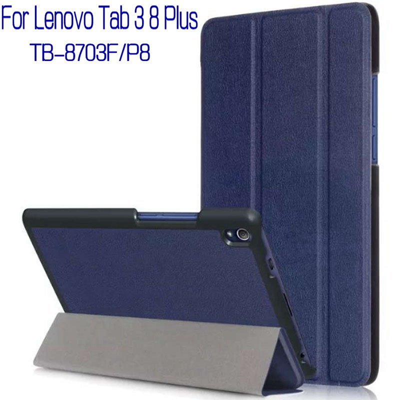 Magnetic Smart PU Leather Funda Cover Case for Lenovo Tab 3 8 Plus P8/TB-8703F 8.0 inch Tablet+Free Screen Film Protector+Pen 3 in 1 new ultra thin smart pu leather case cover for 2015 lenovo yoga tab 3 850f 8 0 tablet pc stylus screen film