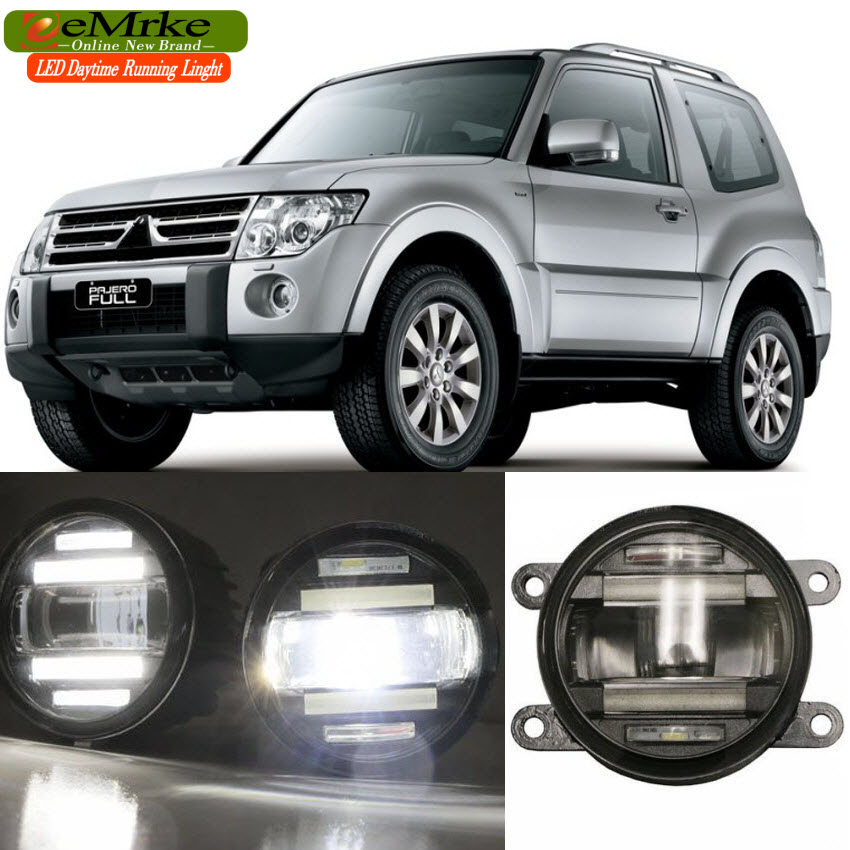 eeMrke Car Styling For Mitsubishi Pajero Shogun 2007- up in 1 LED Fog Light Lamp DRL With Lens Daytime Running Lights eemrke car styling for opel zafira opc 2005 2011 2 in 1 led fog light lamp drl with lens daytime running lights
