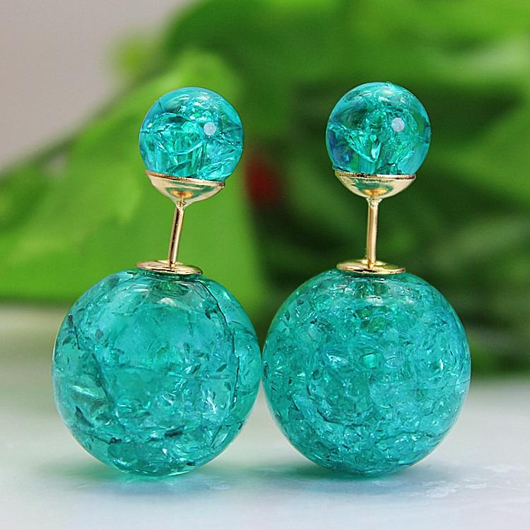 2018 new fashion brand jewery elegant double imitation pearl stud earrings for women cute opal beads earrings