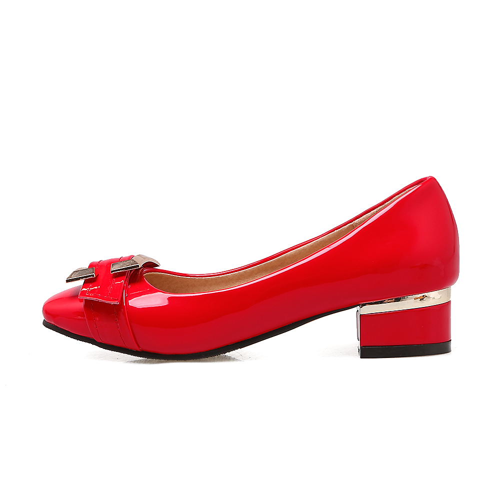 BONJOMARISA large size 32-48 customized slip on buckle women shoes pumps chunky low heels square toe red pumps shoes woman