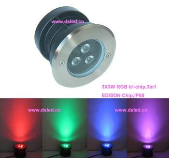 ¡Envío gratis por DHL! IP68 de buena calidad 9 W RGB empotrada llevó la luz de la piscina LED fuente de luz 3X3 W RGB 3in1... DS-11S-13-9W-RGB... 12VDC