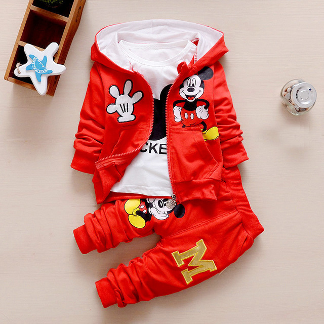 Winter Thicken Warm Tiny Cottons 2018 Baby Hoodies Jackets Coat + Long Sleeve T Shirt + Infant Pants Girl Boy Set Outfits 3Pcs