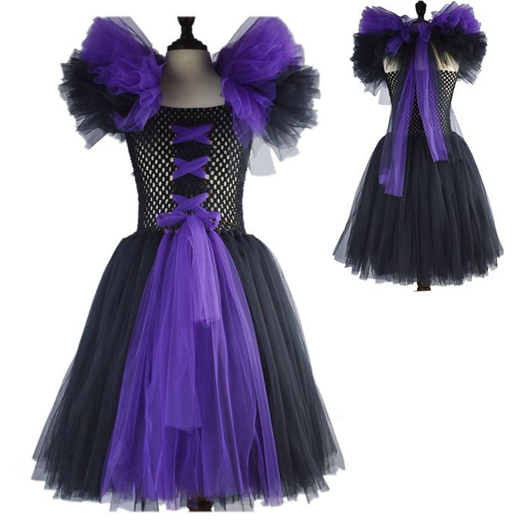 latest baby girl super hero tutu dress children girl dress halloween maleficent cosplay costumes for kids - Halloween Tutu Dress