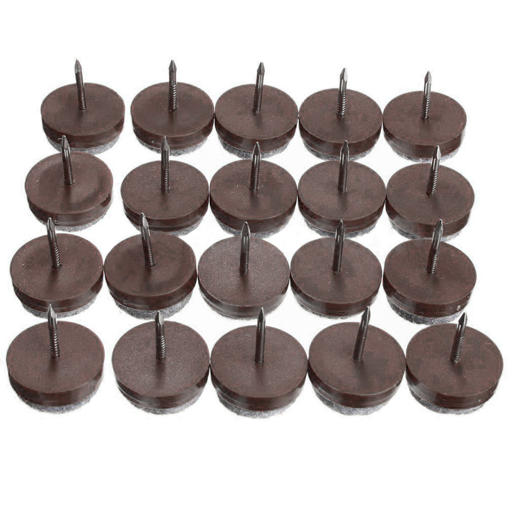 20 Pcs Furniture Nails, Felt Pads For Furniture Feet Skid Glide For Screwing Floor Protector Table Chair Leg