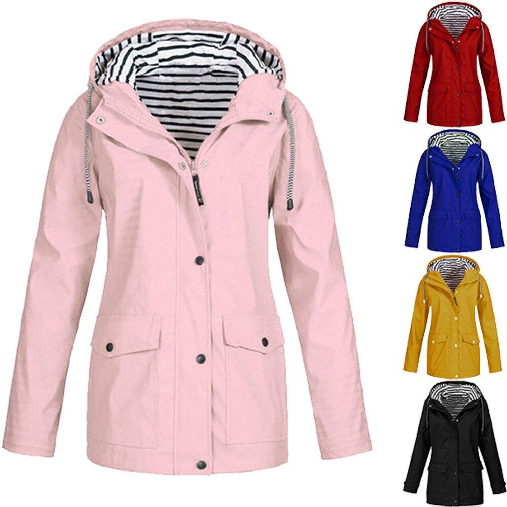 2019 Spring Women  Solid Rain Jacket Outdoor Plus Waterproof Hooded Raincoat Windproof Regular Zipper Coat 3.1