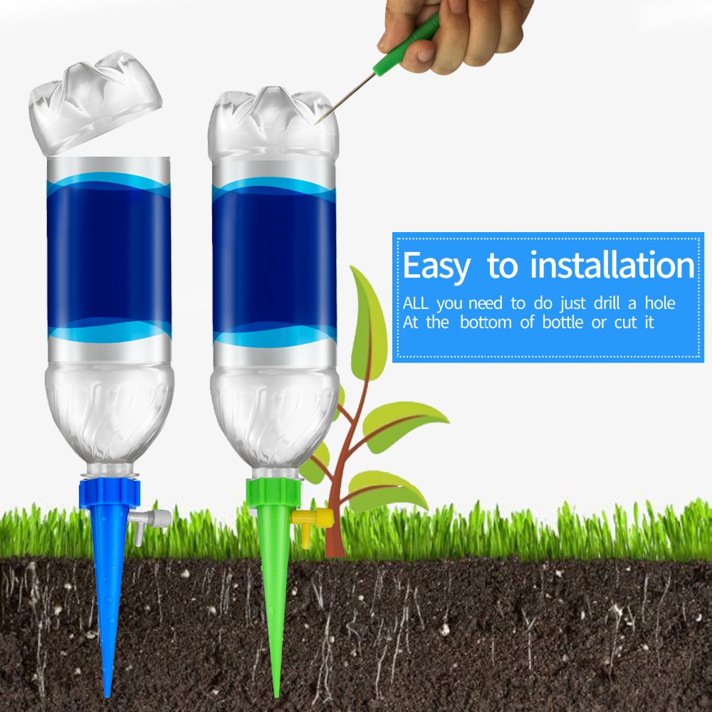 Image 5 - 12Pcs Plant Self Watering Adjustable Stakes System Vacation Plant Waterer Self Automatic Watering Spikes Irrigation System-in Water Cans from Home & Garden