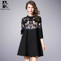 Autumn Winter Runway Designer Woman Dress Black A Line Cotton Dress Butterfly Flower Embroidery Lace Chest