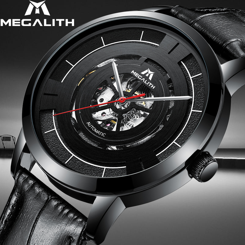 MEGALITH Business Casual Automatic Mechanical Watch Men Waterproof Men Skeleton Watch Leather Strap Male Clock Relogio MasculinoMEGALITH Business Casual Automatic Mechanical Watch Men Waterproof Men Skeleton Watch Leather Strap Male Clock Relogio Masculino