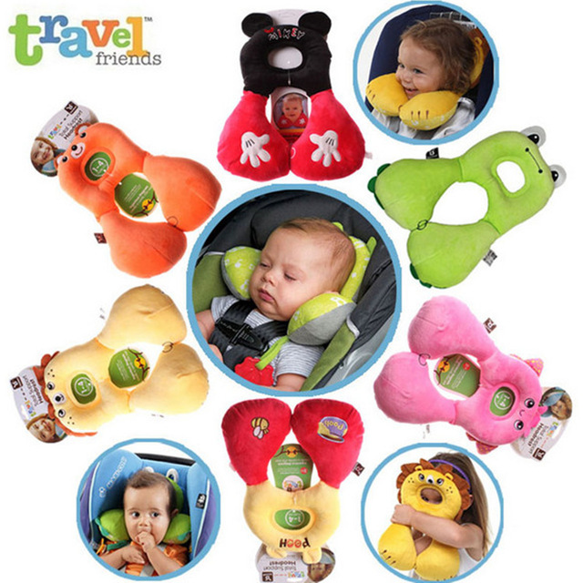 2016 new kids 1~4 years old car safe neck protector kawaii Animals u-shape Safety seat travel pillow high quality coussin enfant