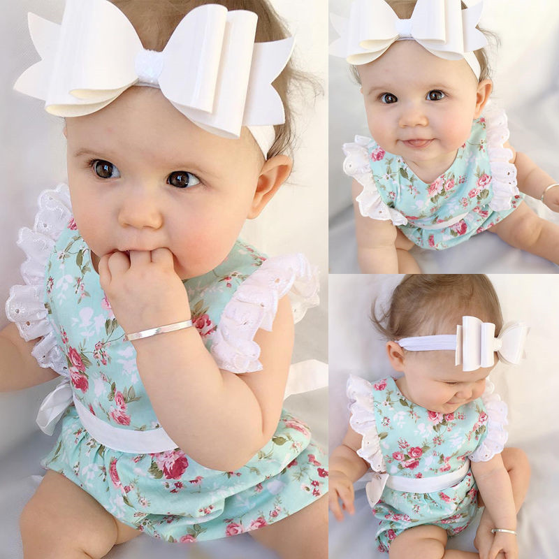 Toddler Baby Girls Floral Rompers Chic Lace Sleeve Side