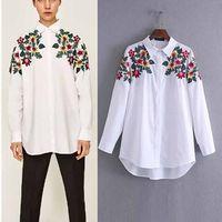 패션 인기있는 봄과 여름 폭발 모조 자수 여성 흰색 긴 소매 셔츠 여성 느슨한 의류