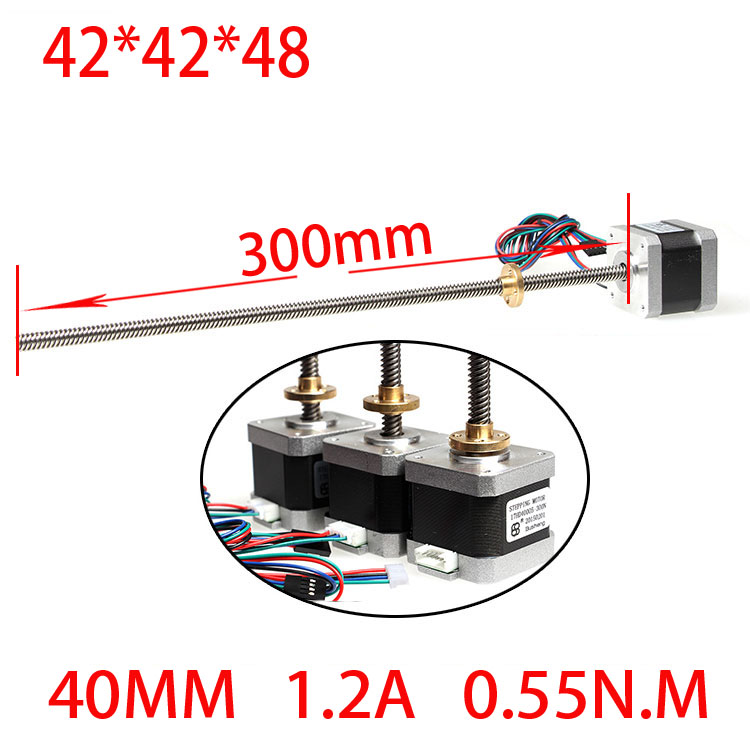 42 3D printer screw linear stepper motor linear motor 1.2A 48mm screw 300mm anet 3d printer screw linear 2 phases stepper motor