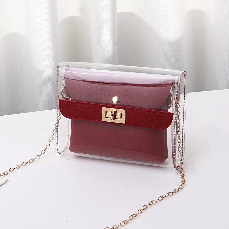 Women PVC Clear Bag Satchel Bag Fashion Transparent Shoulder Crossbody Bags Ladies Messenger Casual Shopping Small Handbags