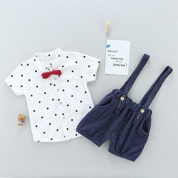Newborn Bow Style Baby Boys clothing set 2pcs t-shirt + bib pants 4