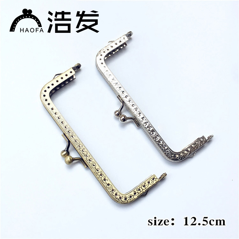 10pcs 12.5cm Square Metal Purse Frame Handle For Clutch Bag Accessories Making Kiss Clasp Lock Antique Bronze Tone Bags