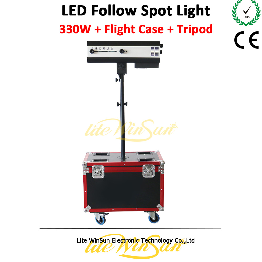 Litewinsune 330W LED Follow Spot Light with Flight Case Wedding Party Small Show Focus Stage Lighting|Stage Lighting Effect| |  - title=