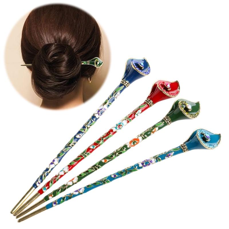 Women Metal Rhinestone Handmade Hair Stick Hair Chopsticks ...