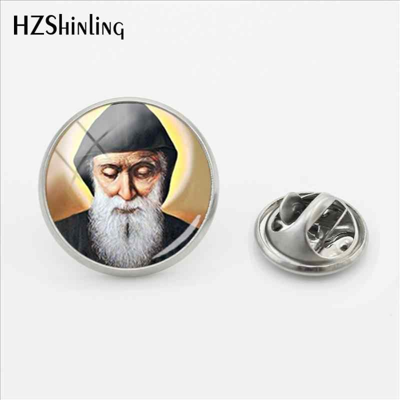 2018 New Saint Charbel Clasp Pin Stainless Steel St Charbel Drawing Art Lapel Pin Glass Dome Handmade Jewelry