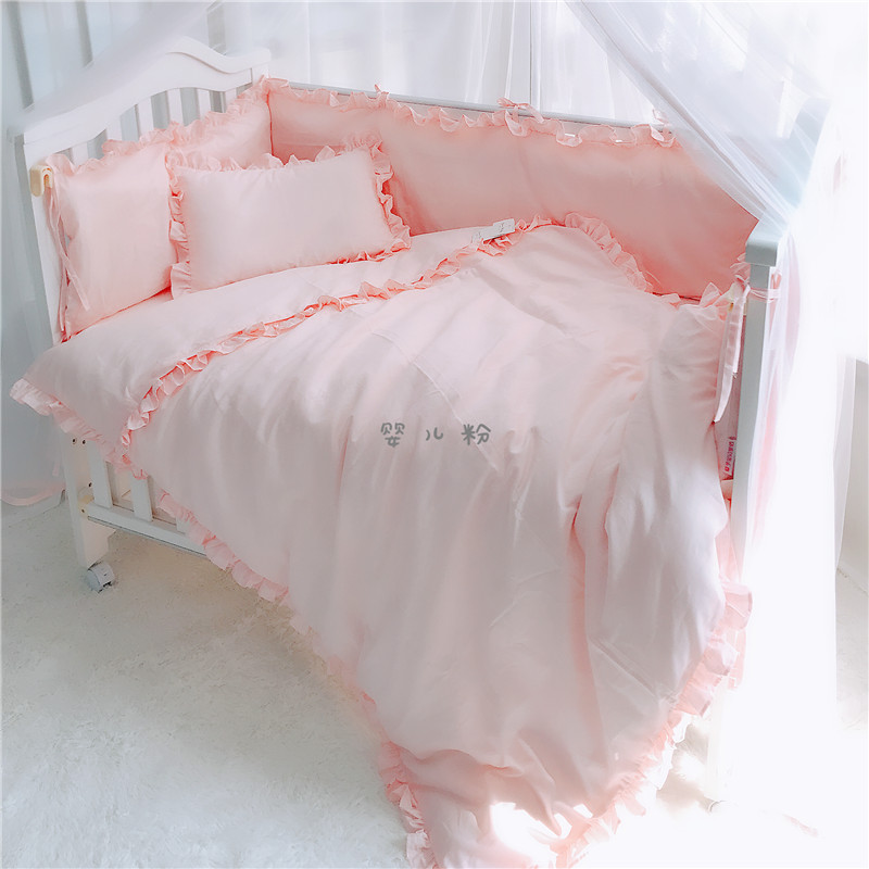 6 pcs/set pure white pink blue gray color baby boy girl crib bedding sets bumper cot set bed protector