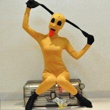 Новинка года. Забавный костюм Zentais из лайкры и спандекса. Цвет: желтый. Костюм для Хэллоуина. Костюм собаки для косплея