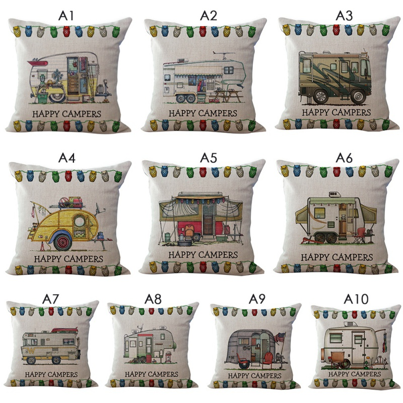 Printed Cotton Linen Cushion Case Vintage Camper Travel Trailer Home Decorative Throw Pillow Case 18x18 Inches Home Textile