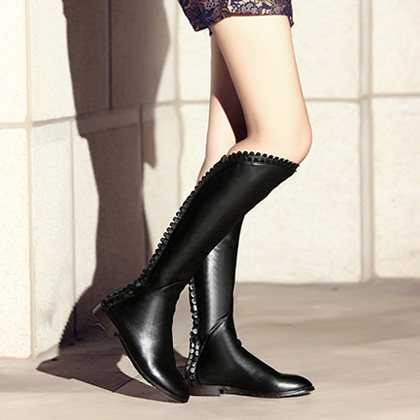 Women's Autumn Spring Fashion Knee High Boots PU Leather Flats Boots Women Motorcycle Riding Black White Shoes Flat S3178