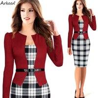 Elegant 2017 Formal Two 2 Piece Runway Dresses Set Belt Business Plaid Party Kleider Office Ukraine