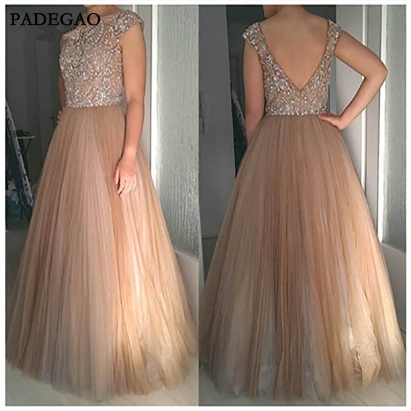 Gorgeous   Evening     Dresses   With Beading A-Line Sleeveless V Back Tulle Sexy   Evening     Dress   Custom Made For Girls