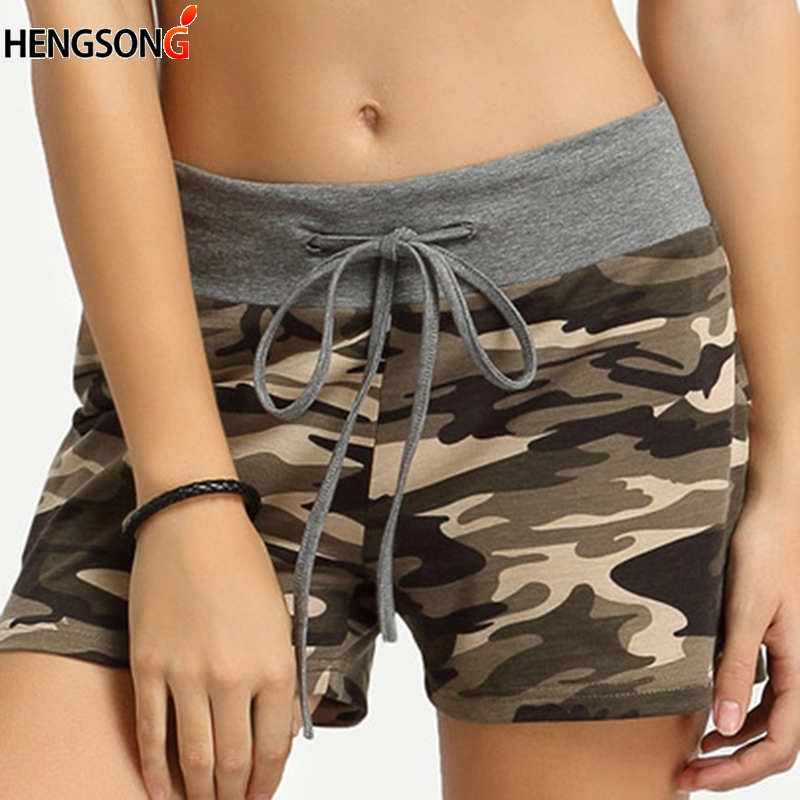 2018 Fashion Camouflage Drawstring Women Shorts Female Women Summer Shorts Casual High Waist Camouflage Printed Shorts