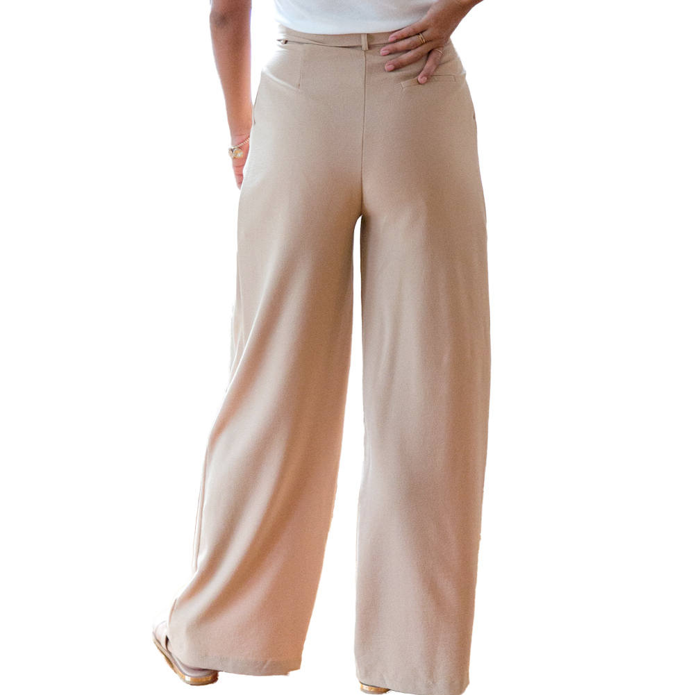 Female Zipper Casual Pants Capri Trousers Belt Wide Leg Pants Women Bottoms Summer Chiffon High Waist Pants