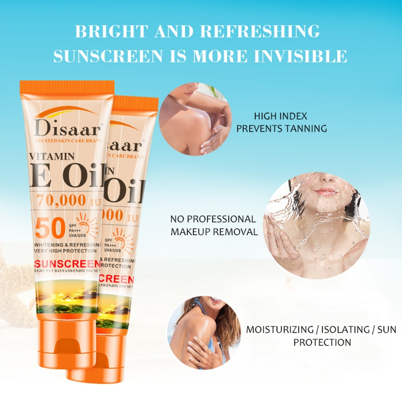 Spf 50++ Vutamin C Sunscreen Cream Waterproof Sunblock Foundation Whitening Isolation Moisturizing Oil Control Face Skin Care P1(China)