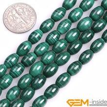 Cuentas de malaquita natural olivar forma de arroz grado AA perlas naturales cuentas de piedras sueltas DIY filamento del grano para la joyería que hace 15 pulgadas