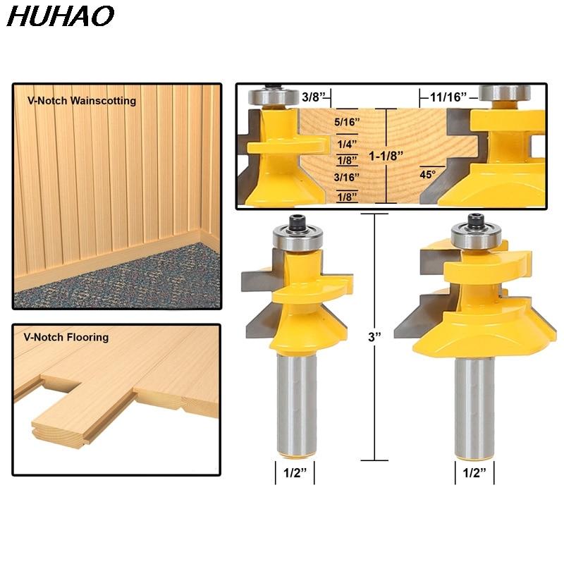 2pcs/lot 1/2 Matched Tongue & Groove V- Notch Router Bit Set Wooden CNC endmill Door Construction 2pcs lot mini tongue
