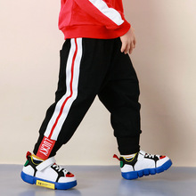 Cotton Baby Boys Running Pants Casual Sport Striped Trousers Kids Slacks For Spring Autumn Height 90-150cm