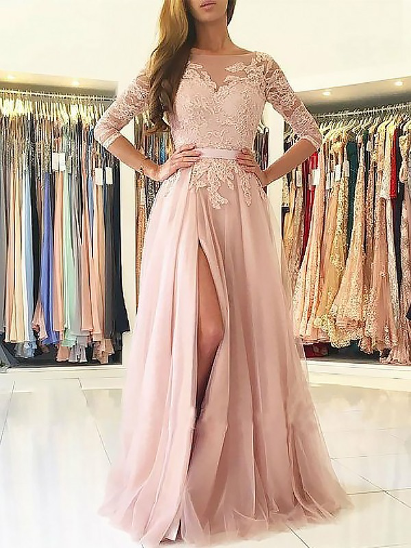 Simple Elegant 3/4 Sleeve   Prom     Dresses   2019 Backless Tulle Appliqued Evening Gowns For Women