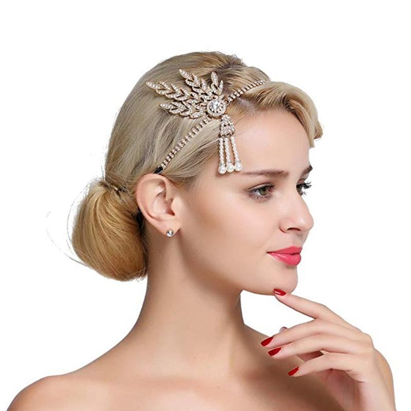 Women's The Great Gatsby Bridal Accessories Crystal Pearl Tassels Hair Headbands Jewelry Wedding Hairband Tiara