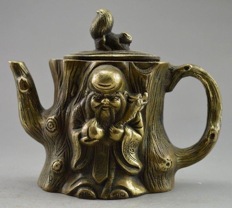Měděná mosaz ČÍNA řemesla dekorace Collectible Zdobené Staré Ruční práce Vyřezávané veverky Nesmrtelná Tree Tea Pot