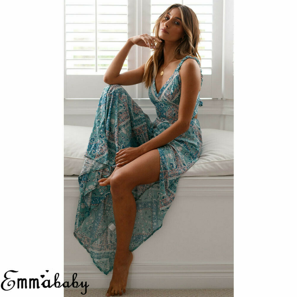 Hot Women Beach Long Maxi Dress V Neck Floral Boho Sexy Sleeveless Print Strappy Blue Summer Backless Casual Party Sexy Sundress in Dresses from Women 39 s Clothing
