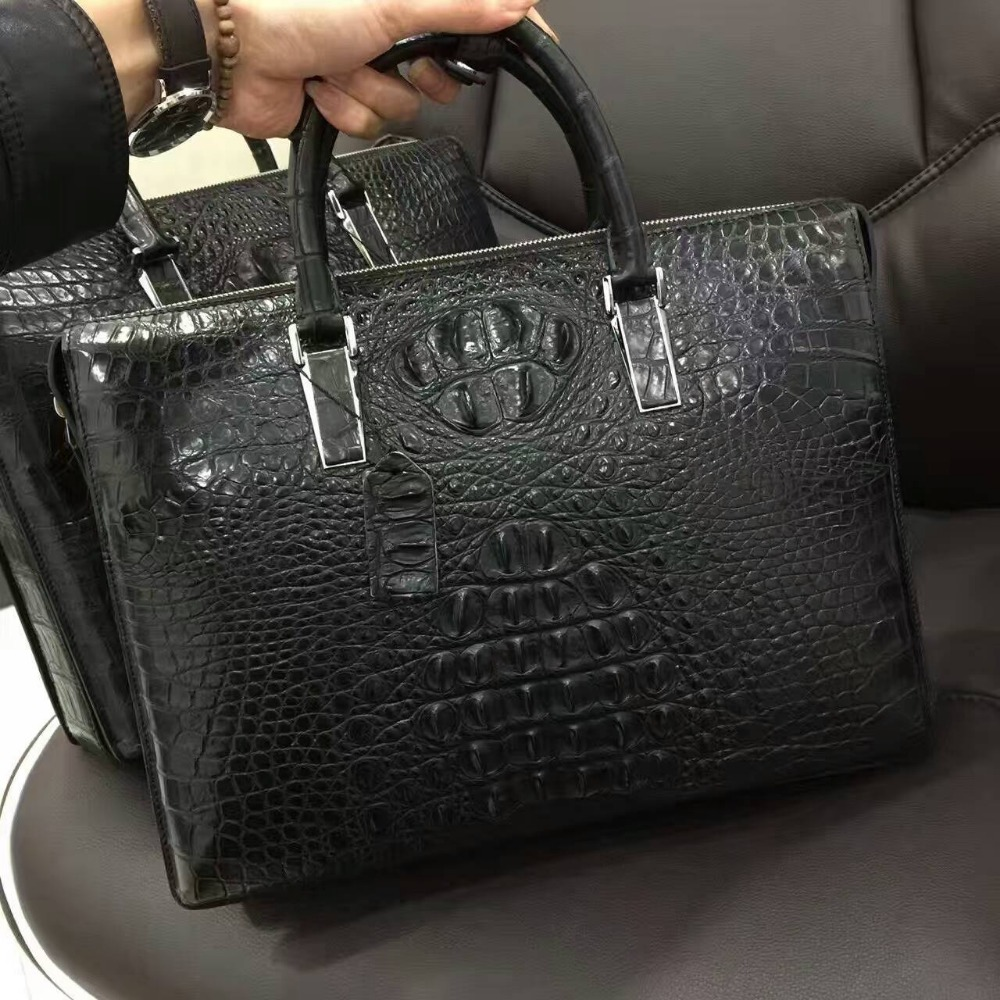 100% Genuine/Real Crocodile head back Skin Men Briefcase Laptop Bag, Top Luxury Men Business bag luxury quality black discounts luxury 100