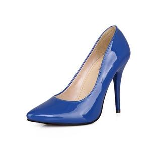 Image 2 - Brand Nieuwe Glamour Blauw Beige Vrouwen Formele Pompen Classic Stiletto Hakken Dame Naakt Schoenen HG5A Plus Grote Kleine Maat 10 12 30 43 48