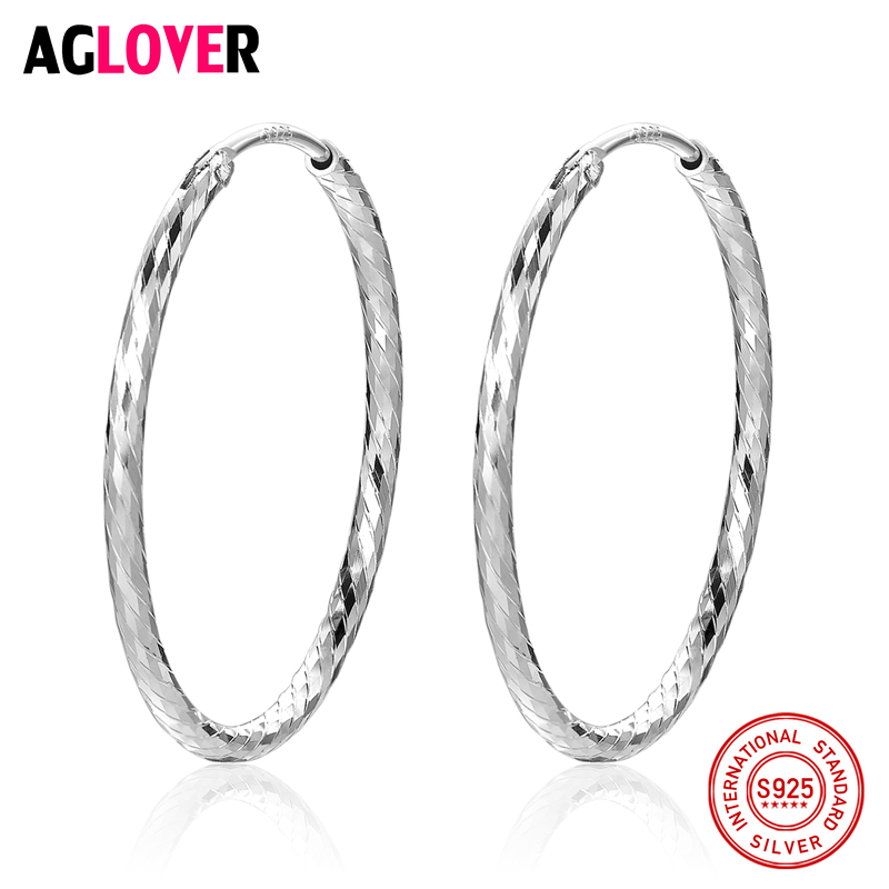 Women 100% 925 Sterling Silver Hoop Earring 28mm Round Circle Polishing Different Lines Silver Hoop Earrings Fashion Jewelry silver vintage flower pattern plain round hoop earrings
