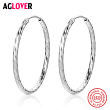 Women 100% 925 Sterling Silver Hoop Earring 28mm Round Circle Polishing Different Lines Silver Hoop Earrings Fashion Jewelry