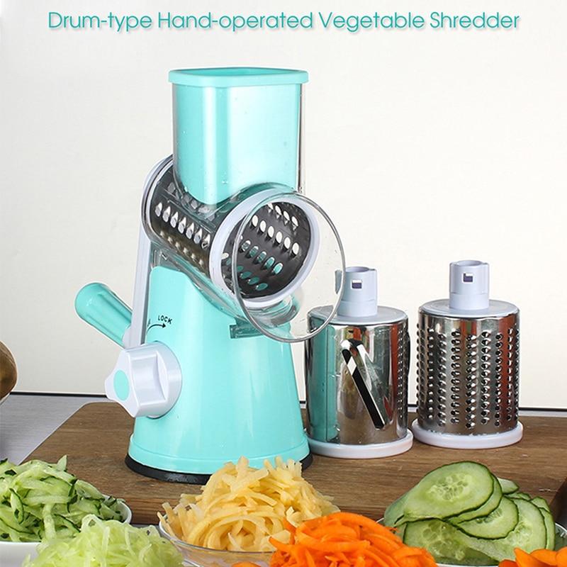 Multi function Shredder Hand Roller Rotary Grater Kitchen Tool Nicer Quicker Hand operated Veggie Chopper