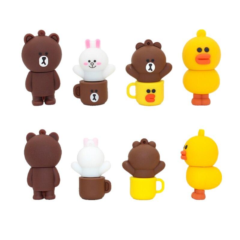 Usb Flash Drive Creative Cute Mug Brown Bear Pendrive 64GB Cartoon Flash Memory Card 4GB 8GB 16GB 32GB Pen Drive 128GB Usb Stick