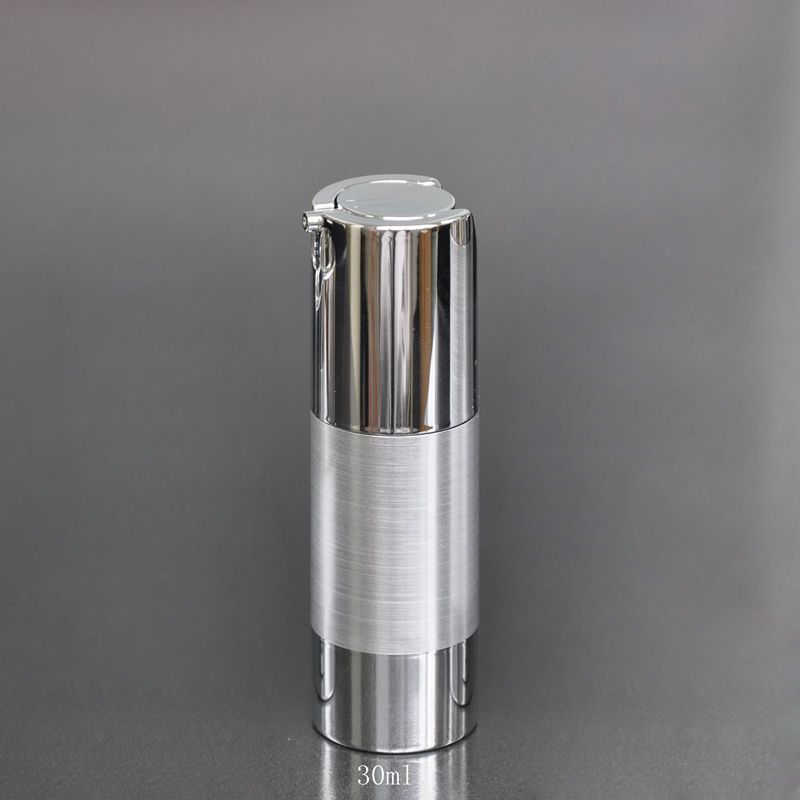 50pcs lot 30ml Electroplating silver airless pump lotion bottle airless bottle plastic bottle with pressed pump