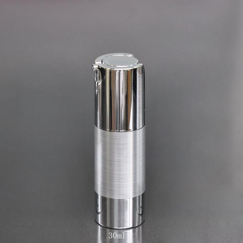 50db / tétel 30ml Galvanizáló ezüst légtelen szivattyú krém palack levegőmentes üveg műanyag palack préselt szivattyúval