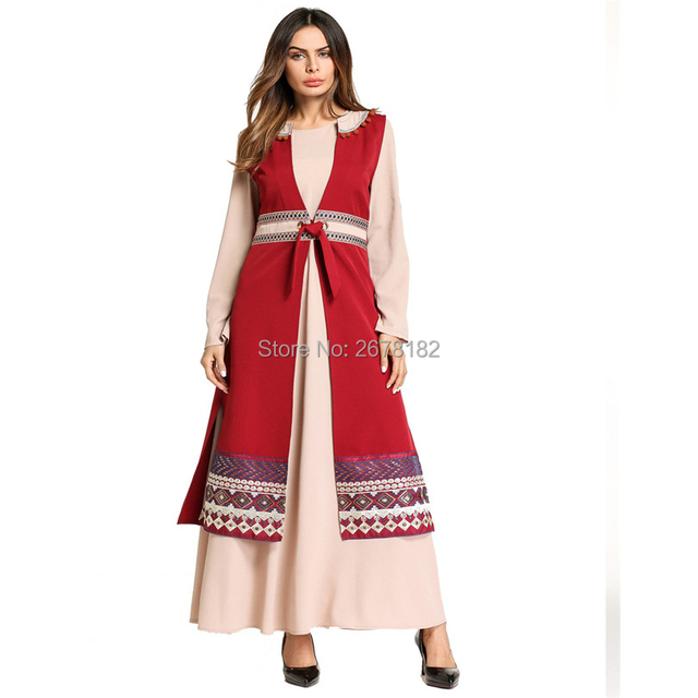 Red Pantskirt Two Piece Formal Dress For Middle East Arabwomen