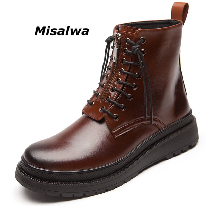Misalwa New Arrival Stylish Boots for Work Shoes Men Side Zipper Black Combat Boots Boys Roma Steel Toe Waterpoof Platform Shoes stylish straight leg checked print zipper fly shorts for men